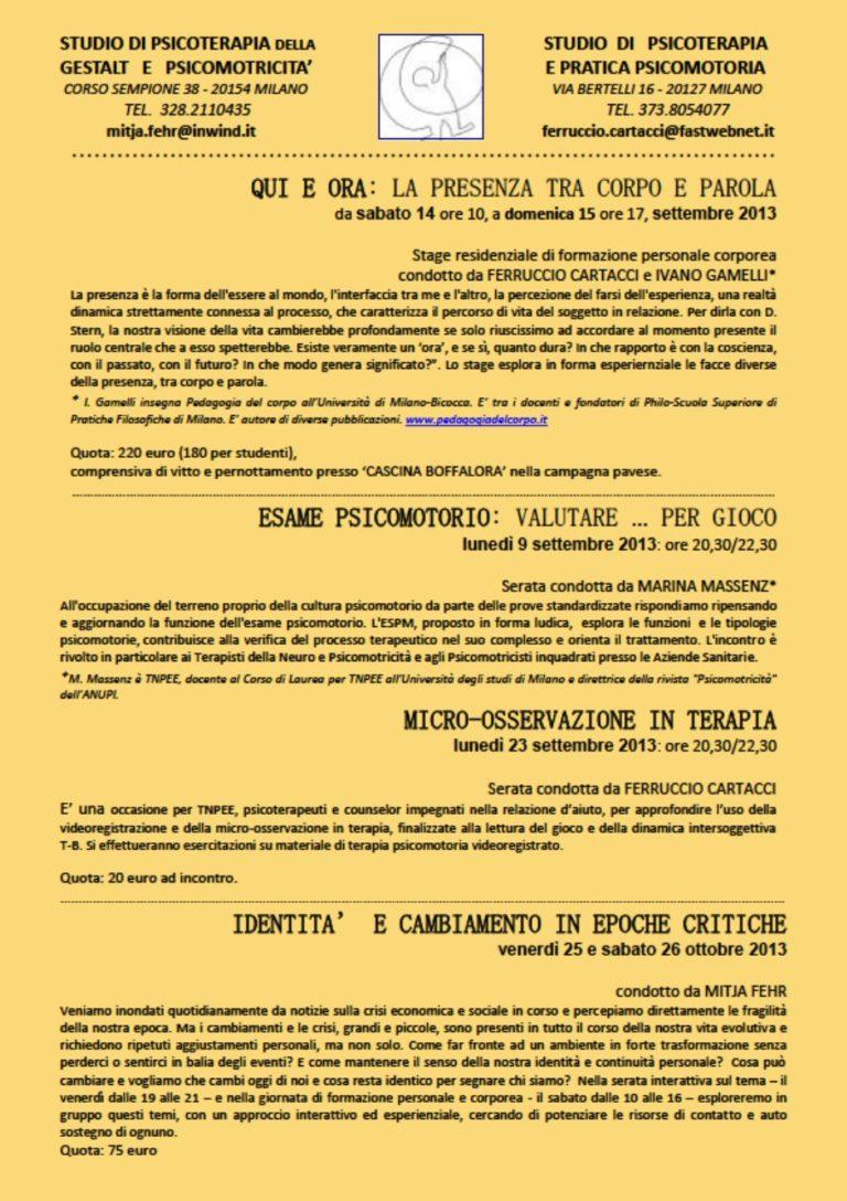Milano – FORMAZIONE PERSONALE IN PSICOMOTRICITA'